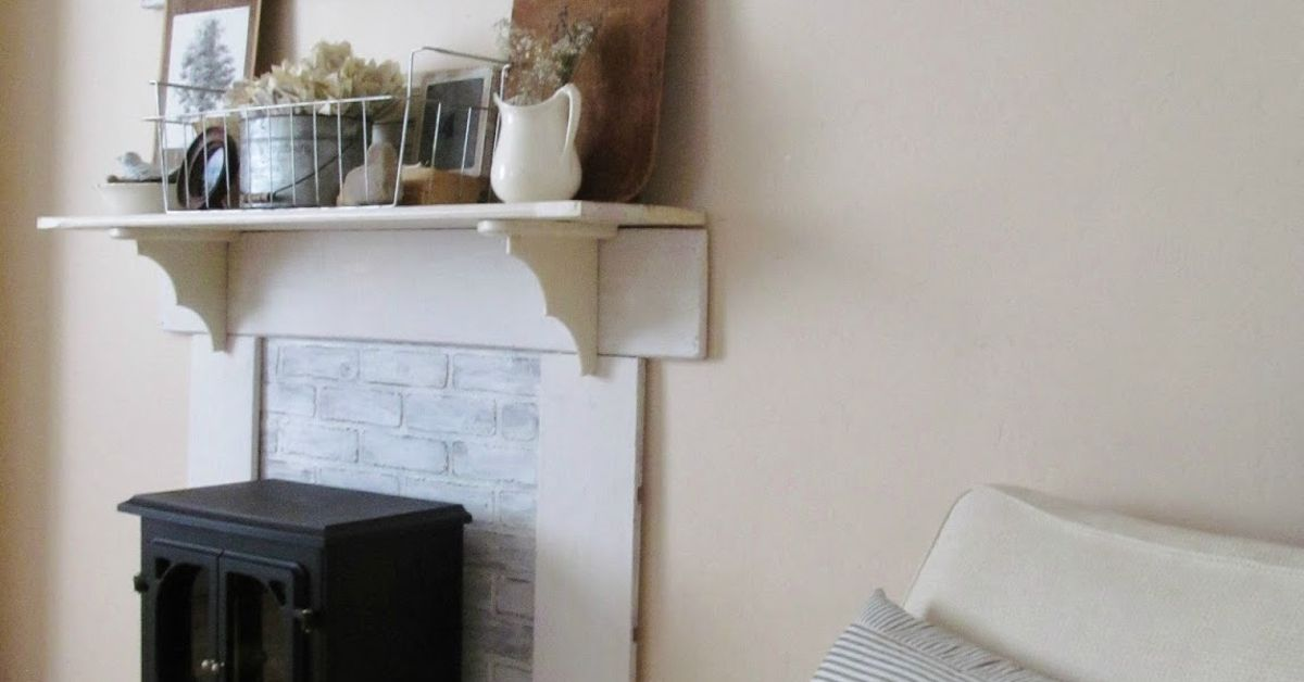 diy faux fireplace mantel update hometalk