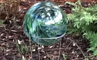 creative hubby made a stand for the gazing ball, gardening, repurposing upcycling, Gazing Ball Stand