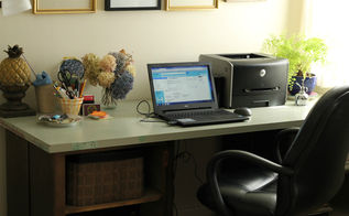 diy office desk from a door and cabinets, diy, doors, painted furniture, repurposing upcycling