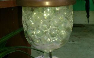 gardening solar lighting, gardening, lighting, outdoor living, repurposing upcycling, Wine Glass solar light