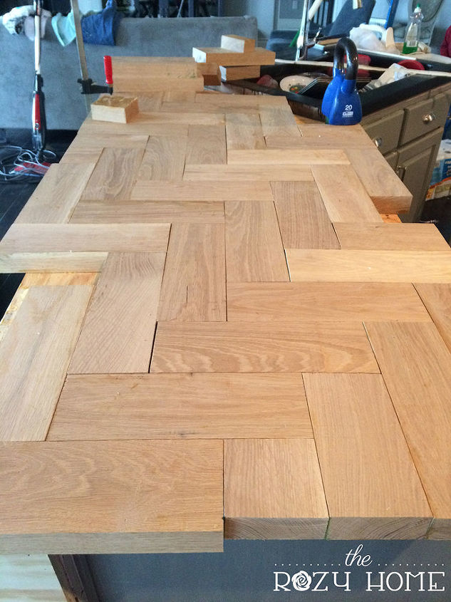 diy wood herringbone counters countertops diy how to kitchen