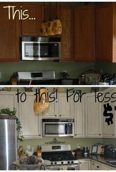 white glazed painted cabinet transformation, kitchen cabinets, kitchen design, painting
