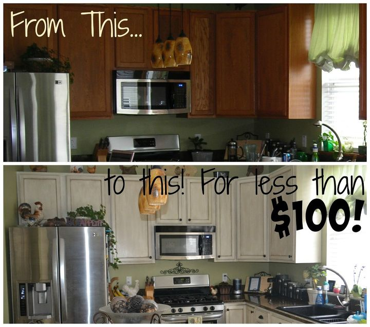White Glazed Painted Cabinet Transformation for less than $100 ...