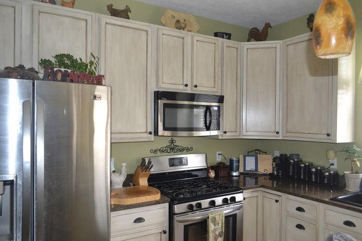 White Glazed Painted Cabinet Transformation Kitchen Cabinets Kitchen Design Painting