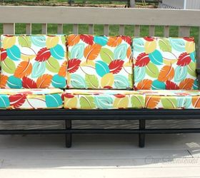 Superb Thrift Store Rattan Sofa Makeover, Outdoor Furniture, Painted Furniture,  Reupholster