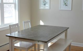diy concrete dining table top, concrete masonry, dining room ideas, how to, painted furniture, repurposing upcycling
