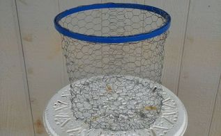 one painted embroidery hoop and some chicken wire, crafts, repurposing upcycling, Finished Basket