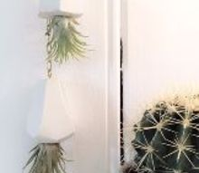 diy geometric airplant hanging planters, container gardening, gardening, home decor, how to