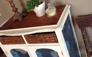 wallpaper rehab, painted furniture, repurposing upcycling