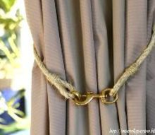 diy rope and brass curtain tie backs, crafts, diy, how to, window treatments, windows
