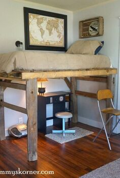 large pallet plus fence posts equals a loft bed, bedroom ideas, diy, fences, pallet, repurposing upcycling