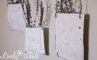 ceiling tile flower pockets, container gardening, crafts, gardening, repurposing upcycling, wall decor