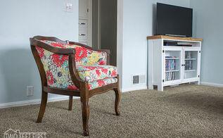 diy barrel chair, painted furniture, reupholster