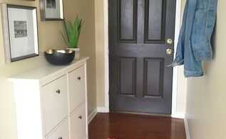 entryway makeover thanks to hometalk community suggestions, foyer, painted furniture