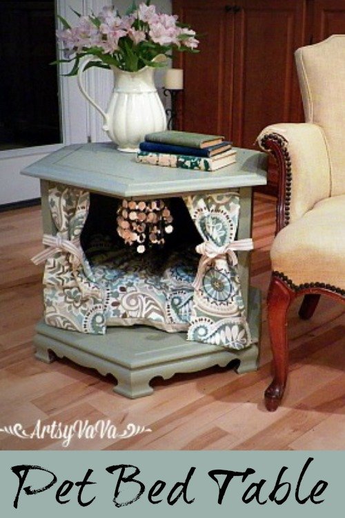 Repurposed side table to posh pet bed hometalk for Coffee table at end of bed
