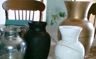 rubber band spray painted vases, crafts, how to, Great to give as gifts