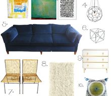 mid century modern mash up mood board, home decor