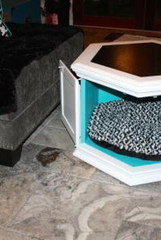 vintage hexagon end table gets new life, painted furniture