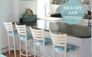 cafe castaways became beach bar stools, painted furniture, reupholster