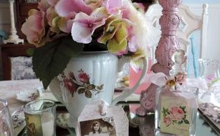 a shabby chic inspired tea party tablescape perfect for mother s day, dining room ideas, repurposing upcycling, seasonal holiday decor, shabby chic