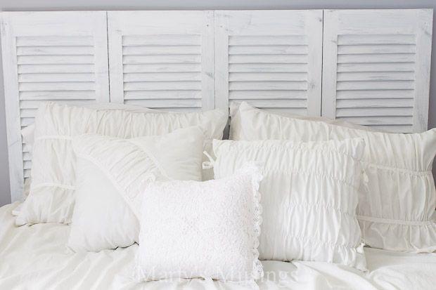 shutter bed repurposed old closet door to headboard hometalk