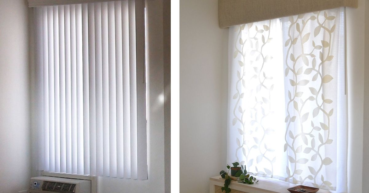 How To Replace Vertical Blinds With Curtains In Minutes