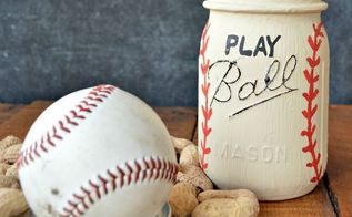 play ball mason jar, chalk paint, crafts, how to, mason jars, repurposing upcycling