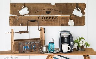 an instant old sign coffee station to fill your caffeine fix, crafts, kitchen design, repurposing upcycling, woodworking projects