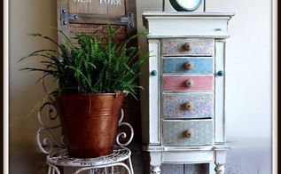 oak jewelry stand, painted furniture, shabby chic