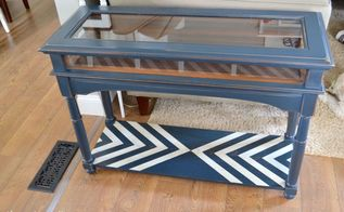 modernize an old table with just paint and a taped chevron design, chalk paint, painted furniture, repurposing upcycling