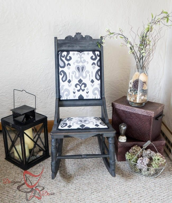 antique rocker given a second life, painted furniture, repurposing  upcycling, reupholster - Upcycled Antique Rocker Hometalk