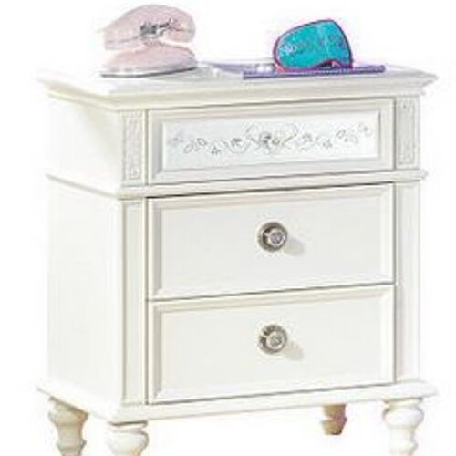 White nightstand with mirrored drawer front and glass knobs.