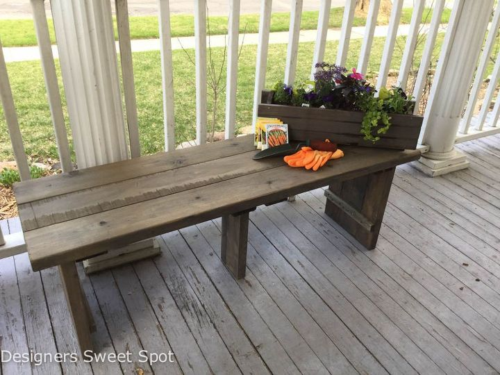 Weathered wooden bench hometalk for Painted outdoor benches