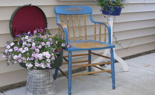 mother s day vintage porch vignette, container gardening, outdoor living, porches, repurposing upcycling, seasonal holiday decor