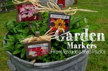 garden markers from recycled seed packs, gardening, repurposing upcycling