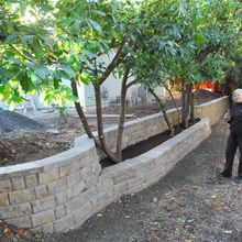 retaining wall on property line, concrete masonry, landscape