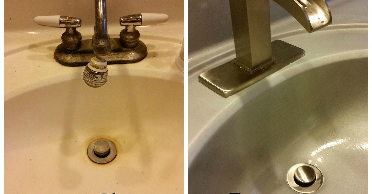 Spray Painted Bathroom Counter And Sink Hometalk