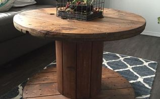 repurposed electrical reel to table, painted furniture, repurposing upcycling