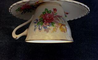 teacup pendant light, crafts, how to, lighting, repurposing upcycling, Ta da Teacup and saucer pendant light