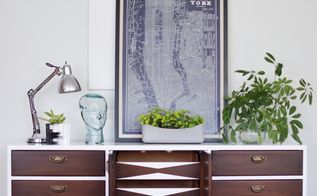 fresh and modern high gloss credenza with geometric drawers, painted furniture, repurposing upcycling