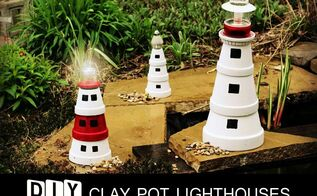 diy clay pot lighthouses, crafts, gardening, lighting, outdoor living, repurposing upcycling