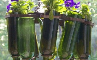 wine bottle hanging basket, container gardening, flowers, gardening, how to, repurposing upcycling