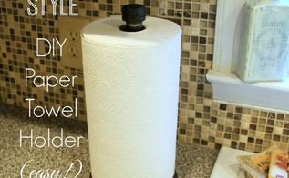 industrial style diy paper towel holder, crafts, how to, kitchen design, repurposing upcycling