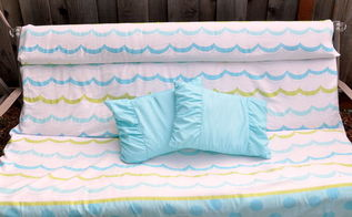 garden swing napping pillows, outdoor furniture, outdoor living, reupholster, Pillows at the ready for summer naps