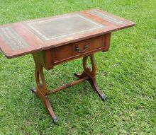 q 1920s antique desk id, painted furniture, repurposing upcycling, Antique Leather Top solid wood desk