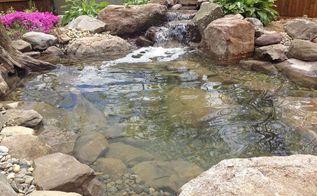 backyard fish pond installation, decks, landscape, ponds water features
