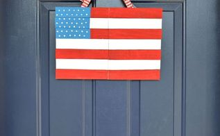 wood shim door flag, crafts, how to, patriotic decor ideas, seasonal holiday decor