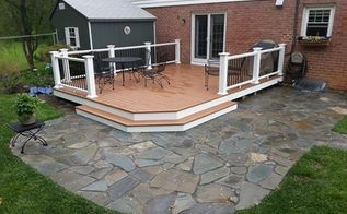 dry laid bluestone patio in towson maryland, concrete masonry, decks, outdoor living, patio, the finished patio in Towson Md