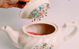 vintage teapot sewing caddy with hidden pincushion, crafts, how to, repurposing upcycling