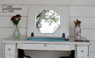 repurposed singer sewing machine, painted furniture, repurposing upcycling